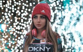 Picture look, girl, face, lights, hat, headphones, bokeh, Pagani Ali