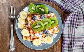 Picture berries, kiwi, fruit, plug, banana, waffles, cakes, BlackBerry