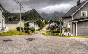 Picture road, clouds, trees, mountains, clouds, rocks, street, home, Norway, Bay, Husoy