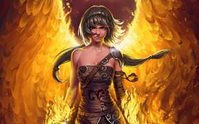 Picture girl, fantasy, wings, blue eyes, Angel, digital art, artwork, warrior, fantasy art, fantasy girl, fire …
