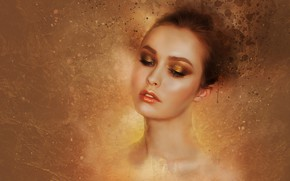 Picture look, girl, face, eyelashes, background, mood, portrait, makeup, hairstyle, shadows, beautiful, gold plated, Golden, neck, …
