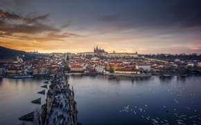 Picture river, Prague, Czech Republic, Vltava, Charles bridge, St. Vitus Cathedral