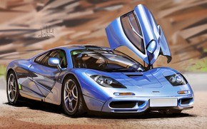 Picture McLaren, Auto, Figure, Machine, Car, Art, Supercar, McLaren F1, Sports car, Vehicles, Transport, Alexander Sidelnikov, …