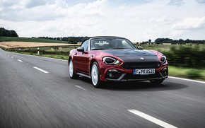 Picture asphalt, movement, Roadster, spider, Abarth, black and red, 124 Spider, 2019, Rally Tribute