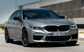 Picture road, grey, the building, speed, BMW, sedan, 4x4, 2018, four-door, M5, V8, F90, M5 Competition
