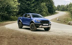 Picture road, blue, Ford, roadside, Raptor, pickup, 2018, Ranger