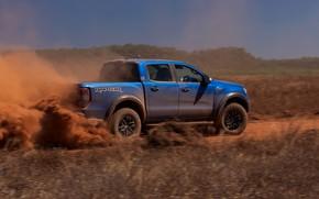 Picture field, blue, Ford, dust, Raptor, pickup, 2018, Ranger