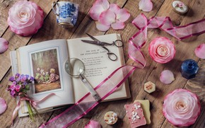 Wallpaper flowers, style, petals, mug, tape, book, magnifier, a bunch, scissors, Camellia