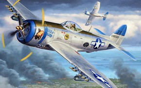 Picture Thunderbolt, fighter-bomber, P-47N, long-range fighter for the Pacific theater of operations, Republic Aviation