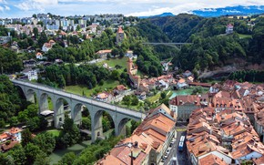Picture trees, bridge, river, home, Switzerland, roof, Switzerland, Bridge, street, Fribourg, Houses, Rivers, Fribourg