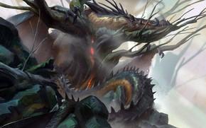 Picture fantasy, horns, dragon, artist, artwork, fantasy art, creature, Even Amundsen