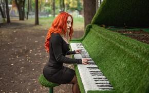 Picture dress, model, redhead, A Diakov George, piano green