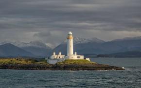Picture sea, mountains, fog, shore, lighthouse, Scotland, haze