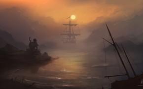 Picture Sunset, Sea, Figure, Boat, House, Ship, Sailboat, Silhouette, Art, Beach, Sun, Sunset, Dawn, Ocean, Illustration, …