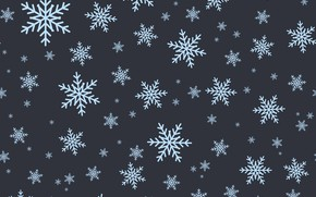 Picture winter, snowflakes, the dark background, texture, Christmas, New year, a lot, different