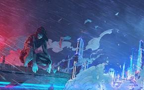Picture Girl, Figure, The city, Rain, Ghost, Art, Ghost in the shell, Ghost in the Shell, …
