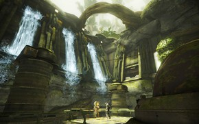 Picture weapons, fiction, the game, soldiers, armor, waterfalls, Warframe