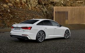 Picture white, Audi, sedan, hybrid, Audi A6, four-door, PHEV, 2020, A6, A6 Sedan, 55 TFSI and …