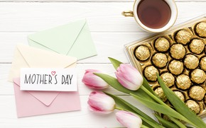 Picture flowers, candy, congratulations, Mother's day