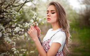Picture girl, branches, pose, model, portrait, spring, hands, makeup, garden, Mike, tattoo, hairstyle, is, flowers, Liza, …