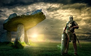 Wallpaper stones, the middle ages, grass, the sky, fantasy, megaliths, is, megalithic construction, collage, armor, visor, ...
