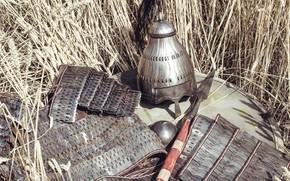 "Picture Ears, Helmet, Shield, Shield, Spear, Armor, Spear, Southern Germany, Lance, Lamellar armor, Workshop ""The Hammer"", …"