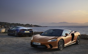 Picture sunset, coast, McLaren, pair, supercars, 2019, McLaren GT