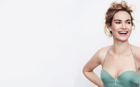 Picture look, girl, smile, actress, beautiful, Lily James