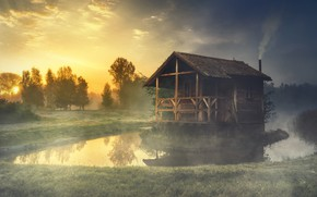 Wallpaper forest, summer, the sky, grass, the sun, trees, landscape, nature, fog, comfort, lake, house, reflection, ...