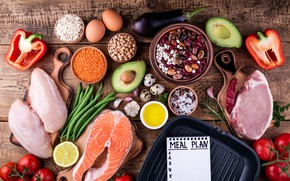 Picture eggs, fish, vegetables, cereals, healthy food