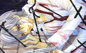 Picture gun, blood, tie, guy, art, bandages, vampire knight, knight-vampire, wounded, white shirt, matsuri hino, zero …