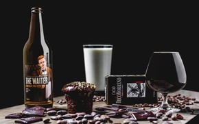 Picture glass, bottle, chocolate, drink, still life, brand