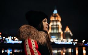 Picture night, lights, glare, model, hat, portrait, makeup, jacket, hairstyle, profile, fur, brown hair, bokeh, Dmitry …
