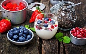 Picture berries, strawberry, garnet, blueberries, yogurt, Chia