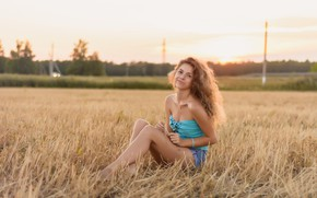 Picture girl, sitting, in the field, Sweetheart, at sunset
