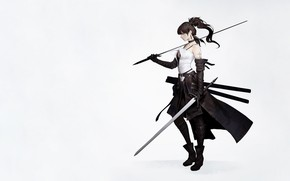 Picture Girl, Minimalism, Girl, Sword, Background, Swords, Art, Art, Background, Minimalism, Blade, Sword, Characters, Swords, Blade, …