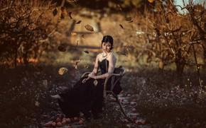 Picture autumn, girl, garden, Iris Tortajada