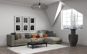 Picture vase, sofa, modern, living room, pictures