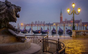 Picture the city, boats, morning, lights, Italy, Venice, channel, sculpture, promenade