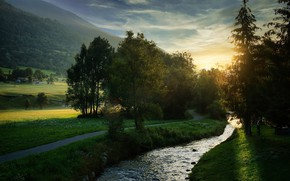 Picture the sun, trees, mountains, nature, stream, hills, track, river