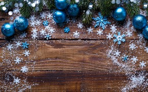 Picture New Year, snow, fir tree, snowflakes, blue, New Year, Christmas, wood, decoration, snow, Merry, balls, …