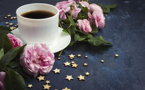 Picture coffee, roses, dark, Cup, pink, stars, cup, coffee, roses