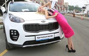 Picture Girls, KIA, beautiful girl, white car, posing on the hood