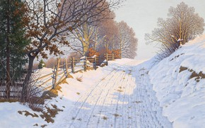 Picture German painter, German painter, oil on canvas, Fritz Müller-Landeck, Fritz Müller-Landeck, Winter Landscape in the …