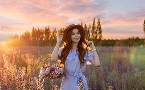 Wallpaper look, girl, flowers, nature, smile, basket, hat, dress, meadow, Yana Savina, Jan Owl