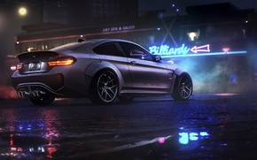 Picture night, BMW, game, NFS, night, art, Electronic Arts, Need For Speed, BMW M4, Need For …