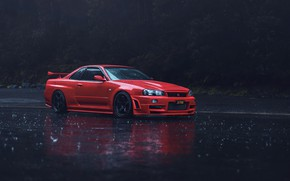 Picture red, rain, skyline, r34, asphalt, nissan gtr