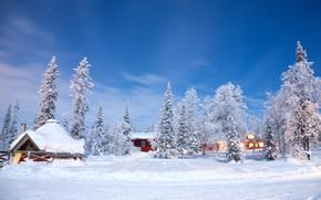 Picture winter, snow, trees, landscape, nature, winter, house, house, hut, landscape, nature, beautiful, winter, snow
