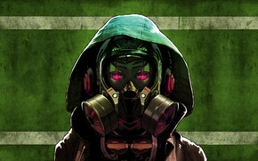 Picture Girl, Art, Wall, Green, Headphones, Jacket, Hood, Red light, Gas mask