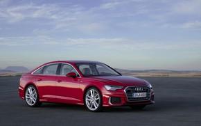 Picture clouds, red, Audi, sedan, 2018, four-door, A6 Sedan